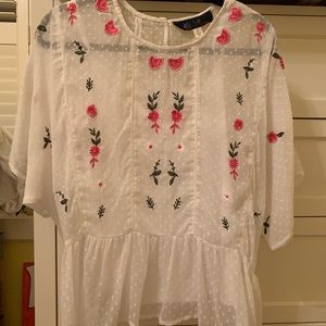 Sheer Embroidered Shirt with White Undershirt